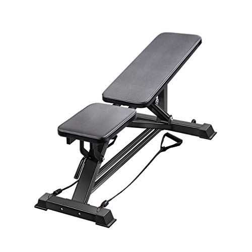 FABAX Zacht leer, inklapbaar, gewicht bank, oefening, fitness, platte bank, multifunctionele instelbare fitnessbank voor thuis, gym