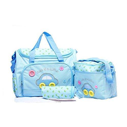 Lot 4pcs Sac à Langer Multifonctionnel Bébé Sac de Biberon pour Maman Maternity Promenade Voyage - Bleu Clair