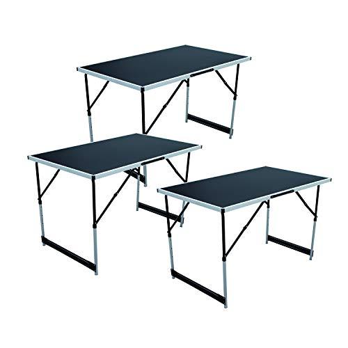 Mojawo 3er Set Aluminium Tappeziertisch Klapptisch Gartentisch Camping Universaltisch Reisetisch Multifunktionstisch höhenverstellbar 100x60x73/80/87/94cm