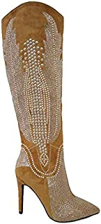 Olkley Cowboy Knee High Boots Women, Western Cowgirl Boots for Women with Stiletto Heels, Fashion Dress Boots for Women - Tan Size