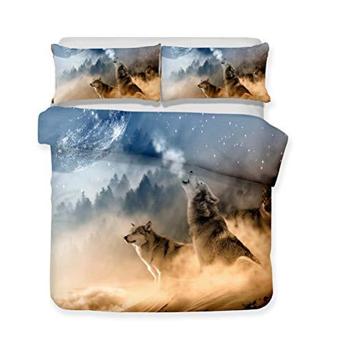 Funda nórdica Cielo Luna Lobo aullador Animal Ropa de Cama Set - Funda nórdica y Funda de Almohada, Conjunto 3 Piezas (Funda nórdica + 2 Fundas de Almohada) (B,AU-Queen-210x210cm)