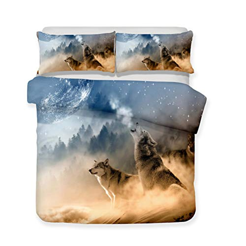 Funda nórdica Cielo Luna Lobo aullador Animal Ropa