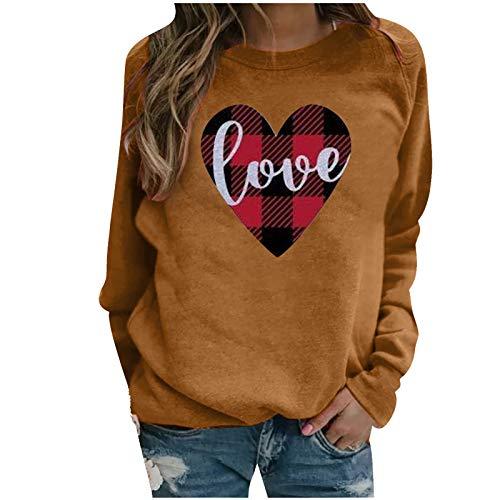WELCO - Camiseta de manga larga para mujer de manga larga y estilo casual para parejas, San Valentn Caf7 XXX-Large