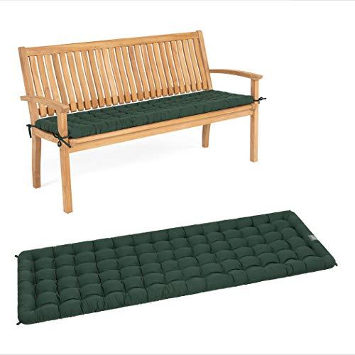 HAVE A SEAT Luxury - Sitzpolster für Gartenbank, Bequeme Gartenbankauflage, waschbar bis 95°C, Pflegeleichte Polster Auflage für Sitzbank, Made in Germany (140 x 48 cm, Moosgrün)