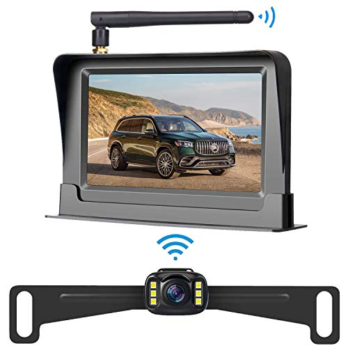 LeeKooLuu HD Wireless Backup Camera and 4.3'' Monitor System for Cars/Small Trucks/ATVs/SUVs/UTVs/Can-Am IP69 Waterproof 6 LED Light Night Vision Rear/Front View with Grid Lines DIY Setting