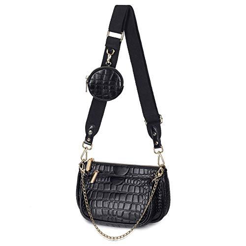 SUVIA Mehrzweck Umhängetasche Damen Crossbody-Taschen Multi-Tasche 3-Teilig Geldbörse Reißverschluss Mode Handtaschen mit Münzbeutel (Schwarz 2)