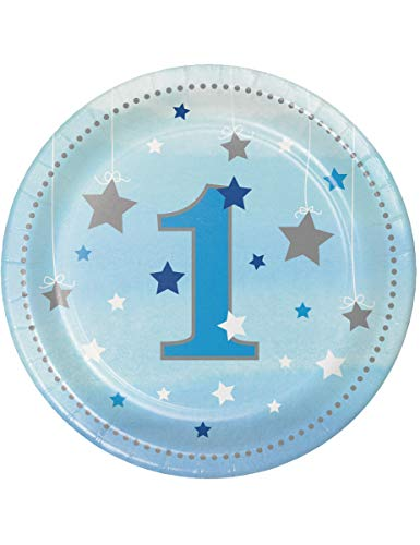 Creative Converting Twinkle One Little Star Boy Dessertteller zum 1. Geburtstag, 17,8 cm, Blau