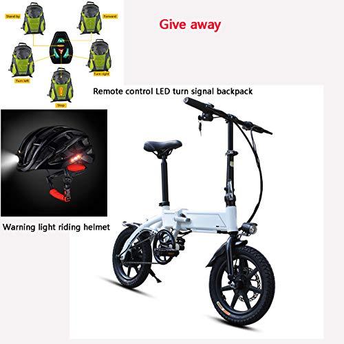 Dsqcai Bicicleta eléctrica Ebs Plegable ciclomotor Ligero de 14 Pulgadas, Equipado con batería de Iones de Litio Oculta extraíble, Resistencia 35 km, Casco de envío, Mochila,Blanco