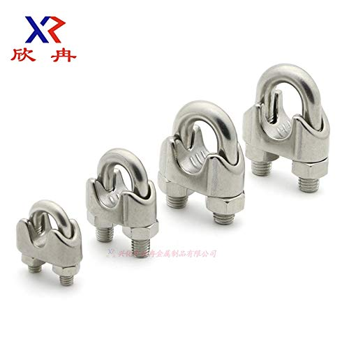 Ochoos Silver 304 Stainless Steel M18 Commercial Wire Rope Clip Cable Clamp 28mm Buckle