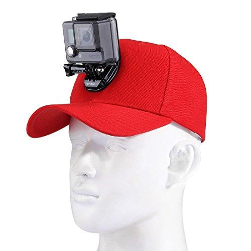 cappello da baseball con j-hook fibbia Mount & 1/10,2 cm vite per tutte le fotocamere GoPro, SJ e Xiaoy color Rosso