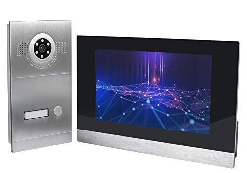 GVS IP Video Türsprechanlage, Unterputz-Türstation IP65, 1x 10\' Monitor, Handy-App, HD-Kamera 115°, Türöffner-Funktion, 32GB, PoE-Switch, 1 Familienhaus Set, AVS2055U