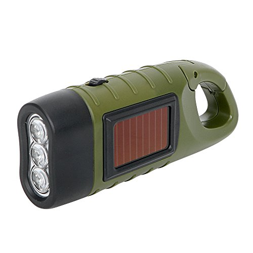 Linterna LED iTimo, con carga solar y manual, luz de emergencia para exteriores, linternas portátiles para campamentos, con gancho a presión para colgarlas, verde y negro