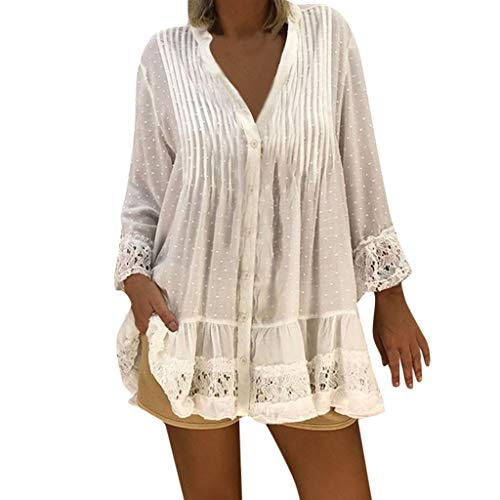 HROIJSL V-Ausschnitt Spitzenoberteil Tops Damen Lose Blusen Kaftan Boho Beach Cover Plus Size Vintage Hippie Baggy Oberteile Plissee Lose Asymmetrisch Dating - Tanzperformance - Party