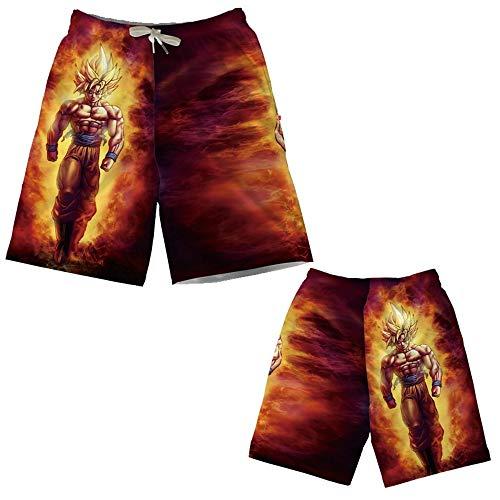 Spricen Herren Badeshorts Sommer Badehose 3D Strand Shorts Hawaii Freizeit Shorts Dragon Ball J M
