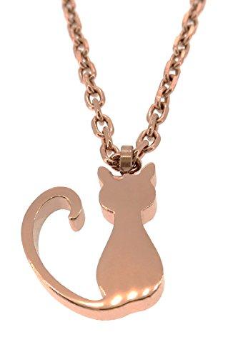 [ナチュラル ピュア]Natural Pure 全二種類 シッポをふる猫 サージカルステンレス ネックレス (ピンクゴールド) レディース