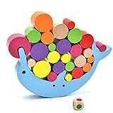 JESU Bloques de construcción de Madera Set delfín Balance Beam Toys, Juguetes educativos para bebés