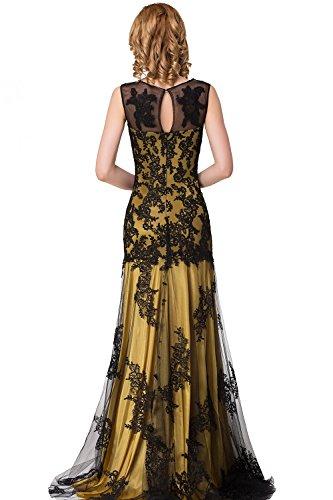 Babyonline Hochwertig Gold Mermaid Abendkleider Lang mit Spitze Party Fest Prom Ball Brautkleider 44