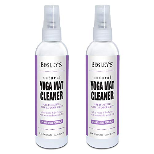 Begley's 100% Natural Yoga Mat Cleaner and Deodorizer Spray 8oz, Plant Based with Fragrant Essential Oils, Pure Eucalyptus & Lavender - 2 Pack