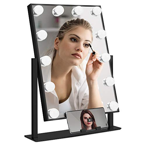 Best Choice Products Hollywood Makeup Vanity Mirror w/Smart Touch, Phone Holder, 12 LED Lights, Adjustable Color Temperature & Brightness, Metal Frame, for Dressing Room, Bedroom Table - Black