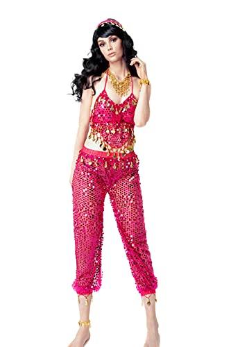 Mujer Danza del Vientre Profesional, Ropa de Baile India rabe Disfraz Carnaval Halloween, Conjunto 6 Piezas Top de Baile y Pantalones Pulsera Collar y Cadena de Cabeza y pie (Fucsia)