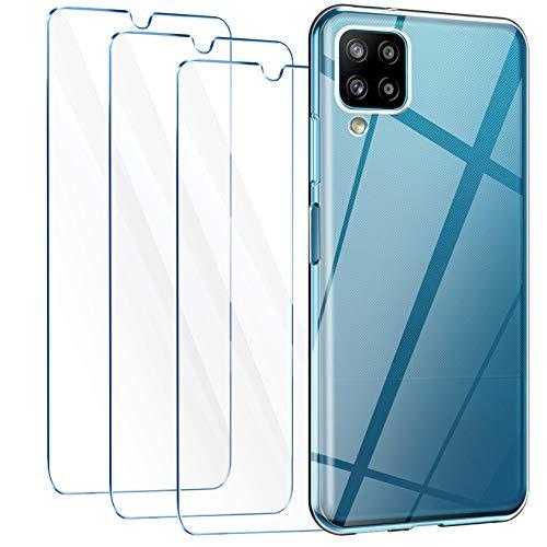 LeathLux Cover Compatibile con Samsung Galaxy A12 / Samsung Galaxy M12 Trasparente con 3 Pellicola Vetro Temperato, Morbido Silicone Protettivo Bumper TPU Gel Smartphone Custodia Case