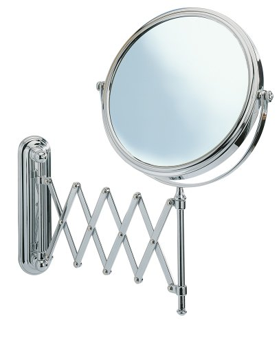 WENKO Kosmetikspiegel Deluxe Teleskop - Wandspiegel, höhenverstellbar, schwenkbar, Spiegelfläche ø 19 cm 500 {32f1ba126a57ca1706646cff13ce889c3e31502568409d5133a9ce085d8d44b1} Vergrößerung, Stahl, 23 x 38 x 50 cm, Chrom