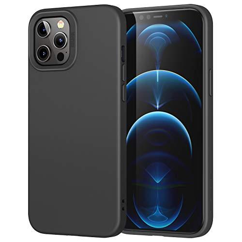 ESR Silikon Hülle Kompatibel mit iPhone 12 Pro Max (2020) Liquid Silikon Gummi Handyhülle stoßabsorbierend & Angenehmer Handgriff Bildschirm & Kameraschutz - Schwarz
