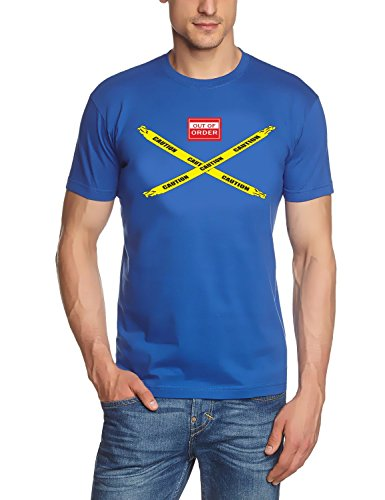 Coole-Fun-T-Shirts Big Bang Theory - CAUTION - OUT OF ORDER T-Shirt Blau-COLOR Gr.S