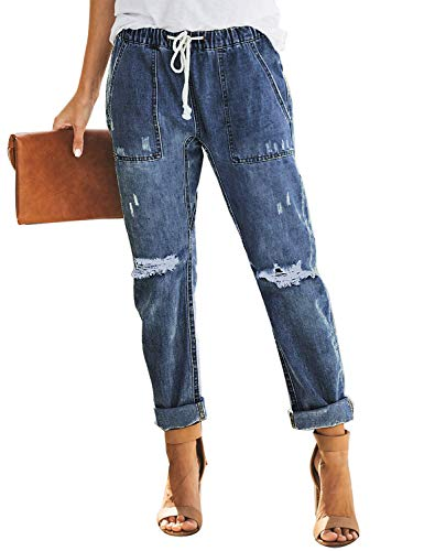 luvamia Women's Casual Distressed Jeans Drawstring Elastic Waist Cuffed Boyfriend Jeans Denim Pants Deep Blue Size Small