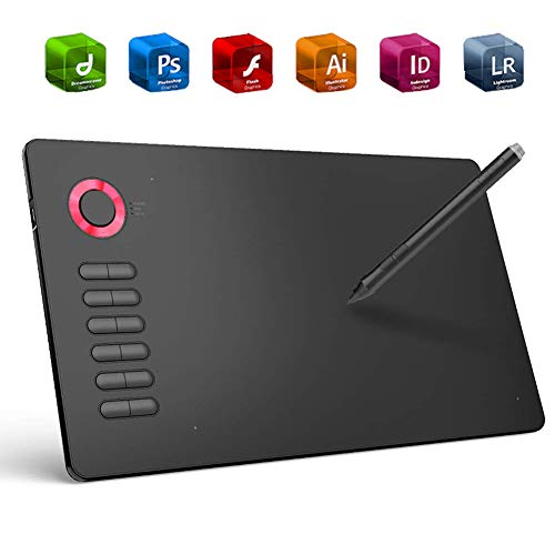 EJOYDUTY Professionelles Grafiktablett, 10 x 6 -Illustratorentafel, mit 12 Express-Tasten, kompatibel mit Windows, Mac, Zeichen-APP,D