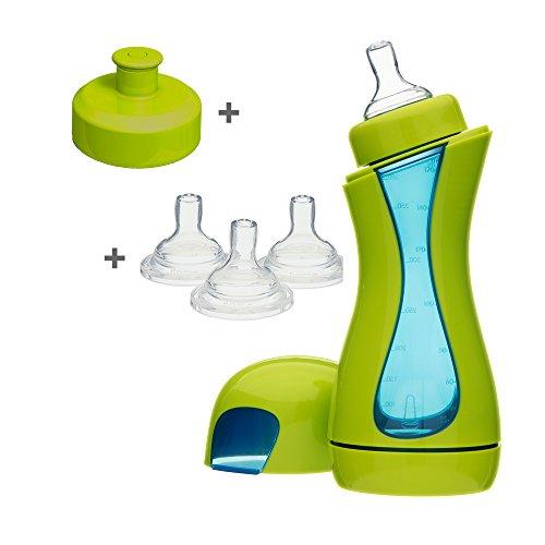 Biberon iiamo Home iiamo Home Set Biberon Anticoliche 380ml BPA Free + 3 Tettarelle Silicone + Beccuccio per Bere (Verde/Blu)