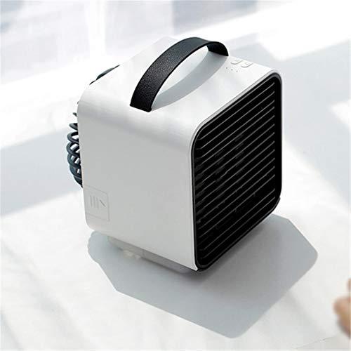 Release Mini Ventilador de Aire Acondicionado de Iones Negativos USB, Ajuste de Tres velocidades, batería de 2000 mAh, luz Nocturna, Ventilador de Escritorio pequeño para el hogar (Color : White)