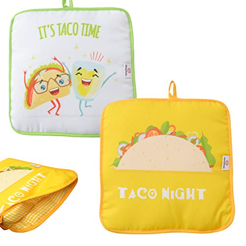Microwaveable X-Large Tortilla Warmer Pouch 2 Pack - 2 Fun Designs to make taco night special. 12 Inch in Diameter Microwave Corn or Flour Tortillas, Pizza, Naan Bread (Square Taco Time)