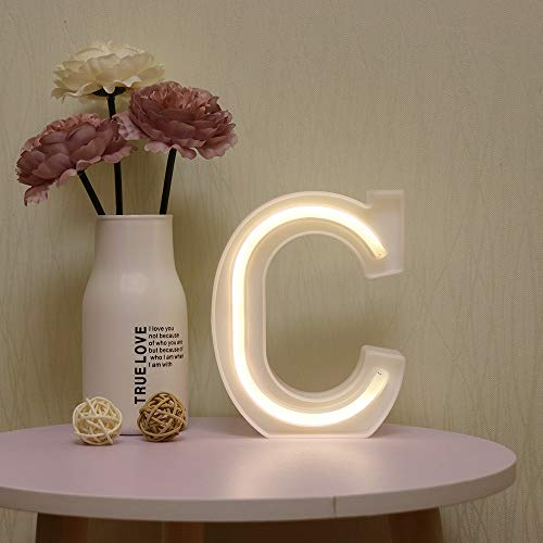 GUOCHENG LED Neon Letters Light Marquee Alphabet Neon Sign Decorative Light up Words Light for Home Wedding Christmas Birthday Party Shopwindow Bar C
