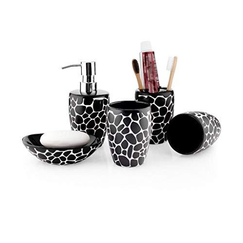 Yyqx Juego de accesorios de cerámica para baño y jabón, soporte para cepillo de dientes, dispensador de jabón, 5 juegos de dispensadores de loción y jabón (color: negro – juego de 5 piezas)