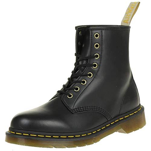 Dr. Martens Vegan 1460 Smooth Black Combat Boot, Fleix Rub, 7 UK/US Men's 8 Women's 9 D US