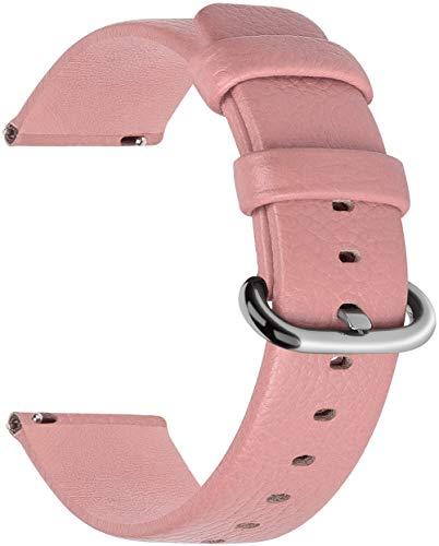 Fullmosa 7 Farben für Uhrenarmband 20mm, Uli Serie Echtes Lederarmband, Ersatzband, Smart Watch Strap mit Edelstahl Metall Schließe, 20mm Rosa