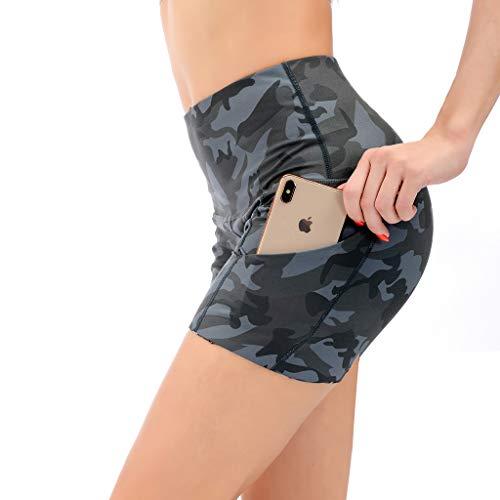 AUU Damen Hohe Taille Biker Workout Yoga Laufen Kompression Übung Shorts mit Seitentaschen Camouflage - Gelb - Groß