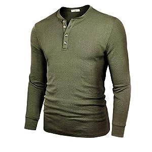 Men's Henley Cotton Casual Short/Long Sleeve Lightweight Button T-Shirts