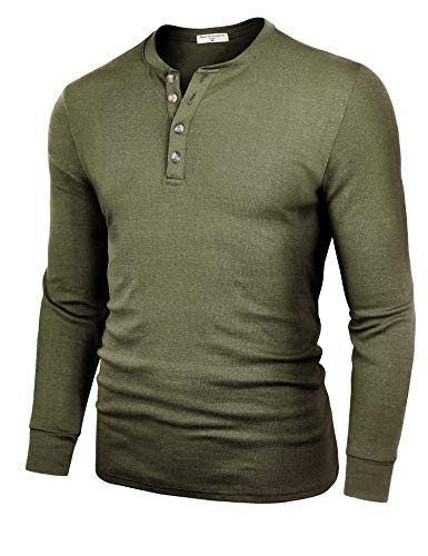 Derminpro Men's Henley Shirts Long Sleeve Casual Slim Fit Cotton Shirts Army X-Large