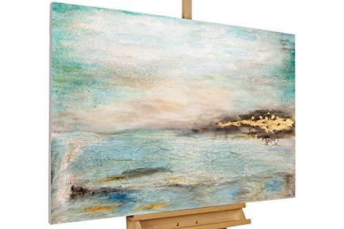 Kunstloft Cuadro en acrílico 'Nuances from Heaven' 120x80cm | Original Pintura XXL Pintado a Mano sobre Lienzo | Abstracto Cielo Azul Gris | Cuadro acrílico de Arte Moderno con Marco