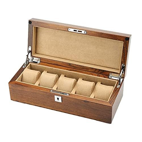 GPWDSN Caja de exhibición de Relojes Estilo Retro, Caja de Madera de Olmo e Interior Suave, Gran Espacio con Cerradura Estilo Retro para 5 Relojes, Festival para Hombres, ma