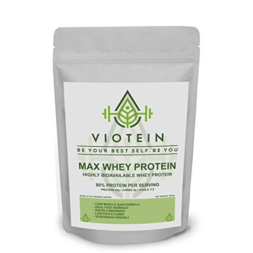 Max Whey Protein Powder - 100% Whey - Lean Muscle - 80% Protein PER Serving (Vanilla Ice Cream, 907g)