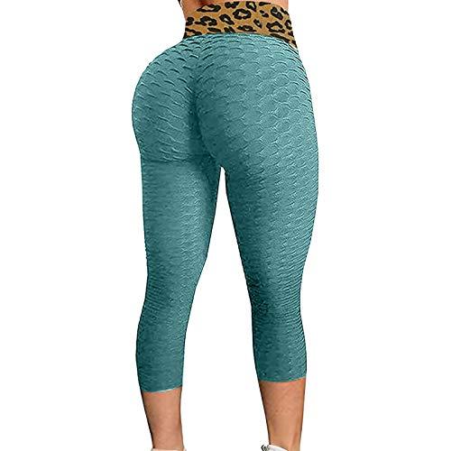 3/4 Mallas Deporte Mujer Cintura Alta Sin Costura Panal Arrugado Color sólido Leggins Mujer Push Up para Yoga Fitness Gimnasio Gym