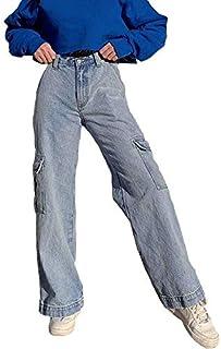 Geagodelia Pantalones anchos de mujer de cintura alta, pantalones de invierno de Denim Jeans estilo de calle casual y eleg...