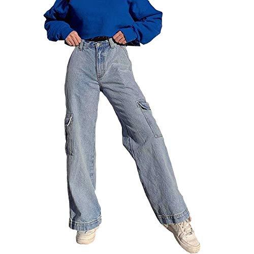 Geagodelia Pantaloni Larghi Donna a Vita Alta Pantaloni Donna Invernali in Denim Jeans Stile di Strada Casual e Eleganti S-L (Blu, M)