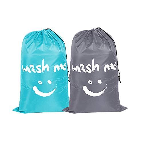 shihao159 2pcs Nylon Laundry Bag Wash Me Travel Storage Bag Machine Washable Dirty Clothing Organiser Wash Drawstring Bag Light Blue and Grey