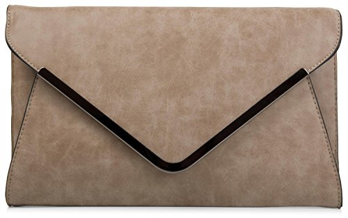 styleBREAKER Envelope Clutch, Abendtasche im Kuvert Design mit Schulterriehmen und Trageschlaufe, Damen 02012047, Farbe:Khaki