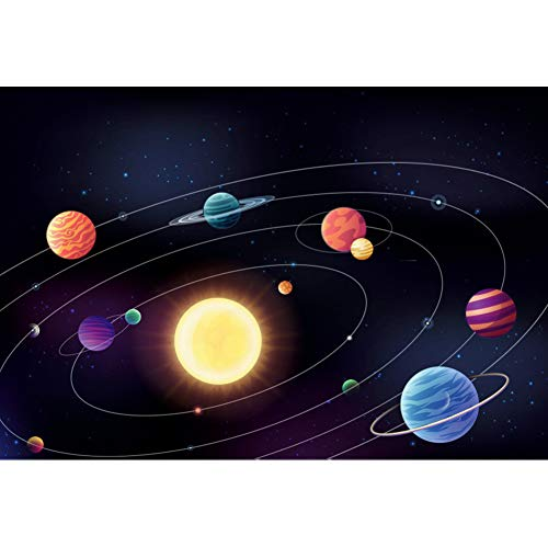 DORCEV 10x7ft Cartoon Solar System Photography Backdrop Boys Space Theme Birthday Party Background Galaxy Outer Space Astronomy Spaceman Wallpaper Photo Studio Props