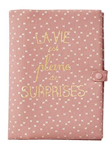 VERTBAUDET Protège carnet de santé La vie est pleine de surprises blush foncé imprimé TU
